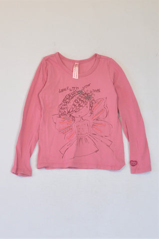 Naartjie Pink Dance With Your Wings Long Sleeve T-shirt Girls 4-5 years