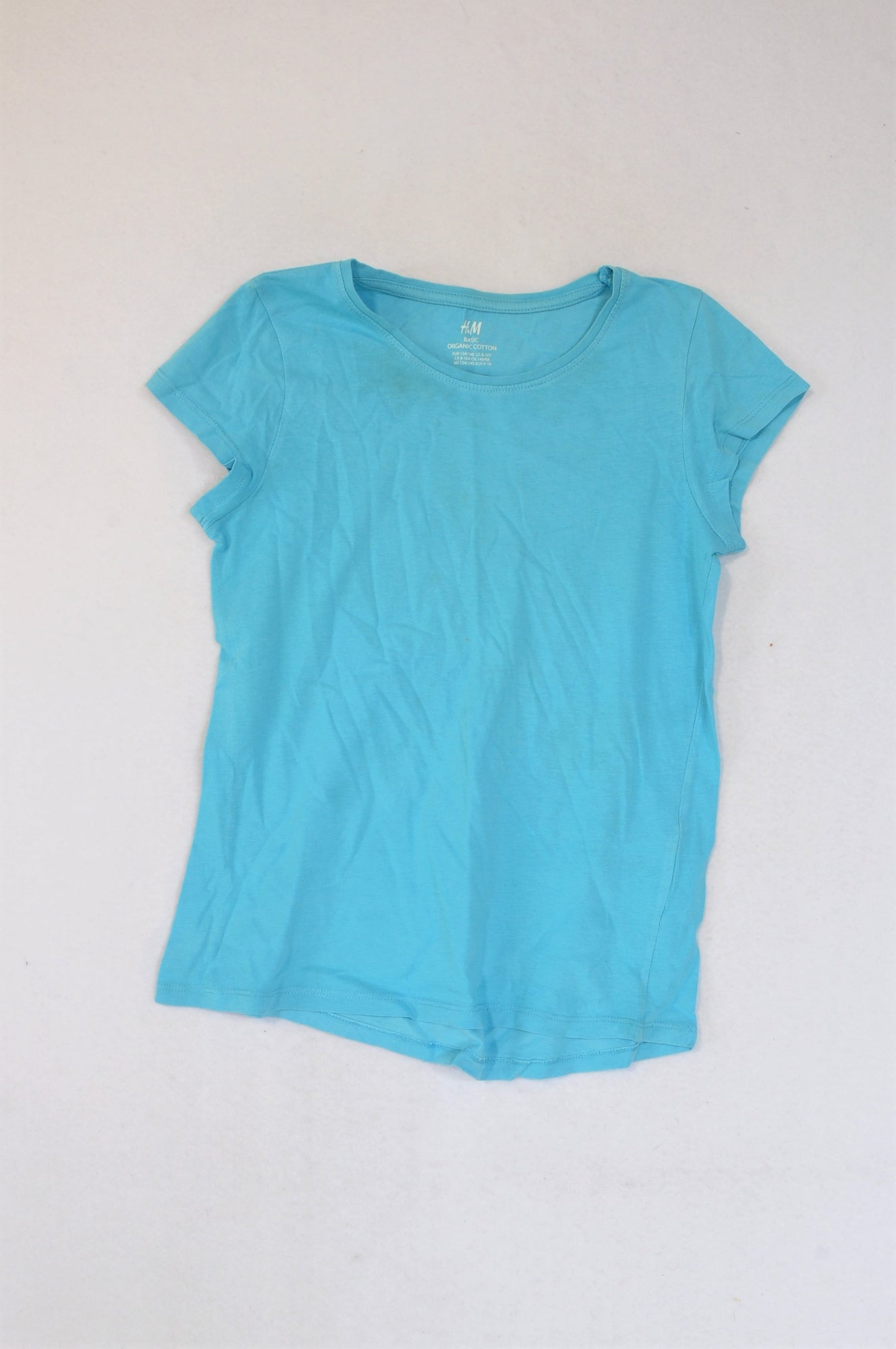 H&M Light Blue Cap Sleeve Organic Cotton T-shirt Girls 8-10 years