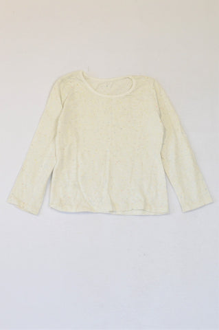 Woolworths Speckled Off-White Long Sleeve T-shirt Girls 4-5 years