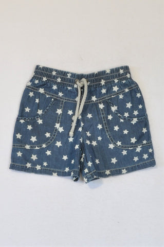 Woolworths Denim Stars Drawstring Shorts Girls 5-6 years