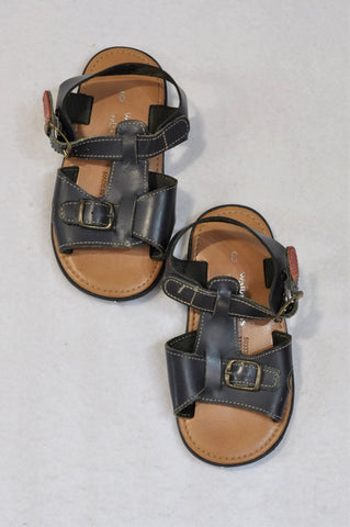 New Woolworths Size 8 Navy Leather Sandals Boys 2-3 years