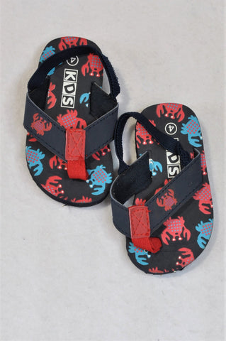 New Edgars Size 4 Navy Crab Flip Flops Boys 12-18 months