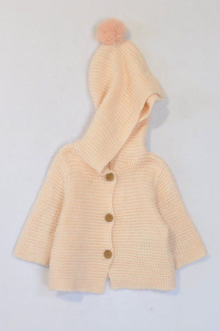Cotton On Soft Pink Knitted Button Up Hooded Jersey Girls 6-12 months