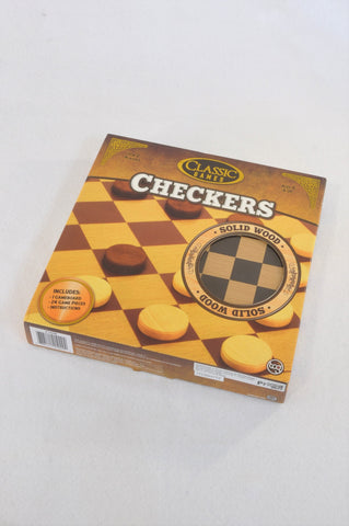 New Classic Games Solid Wood Checkers Game Unisex 6+ years