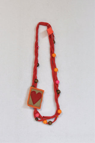 New Unbranded Red Heart Pendant Beaded Cloth Necklace Women