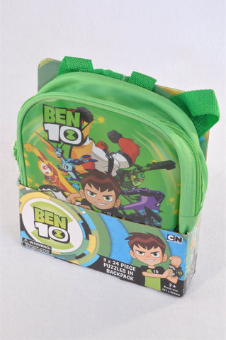 New Cartoon Network Ben 10 Backpack & 3 x 24 Piece Puzzles Unisex 3-7 years