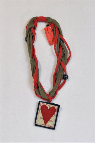 New Unbranded Olive & Red Heart Patch Cloth Beaded Necklace Women