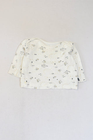 Mothercare White Dog Long Sleeve Top Unisex 3-6 months
