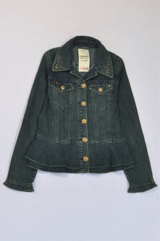 New Choice. Denim With Diamantes On Collar Jacket Women Size L
