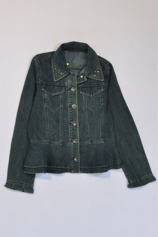 Choice. Denim Diamantes Collar Jacket Women Size M