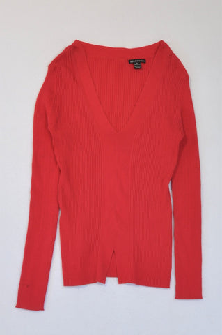 Selection Red V-Neck Long Sleeve Top Women Size XL