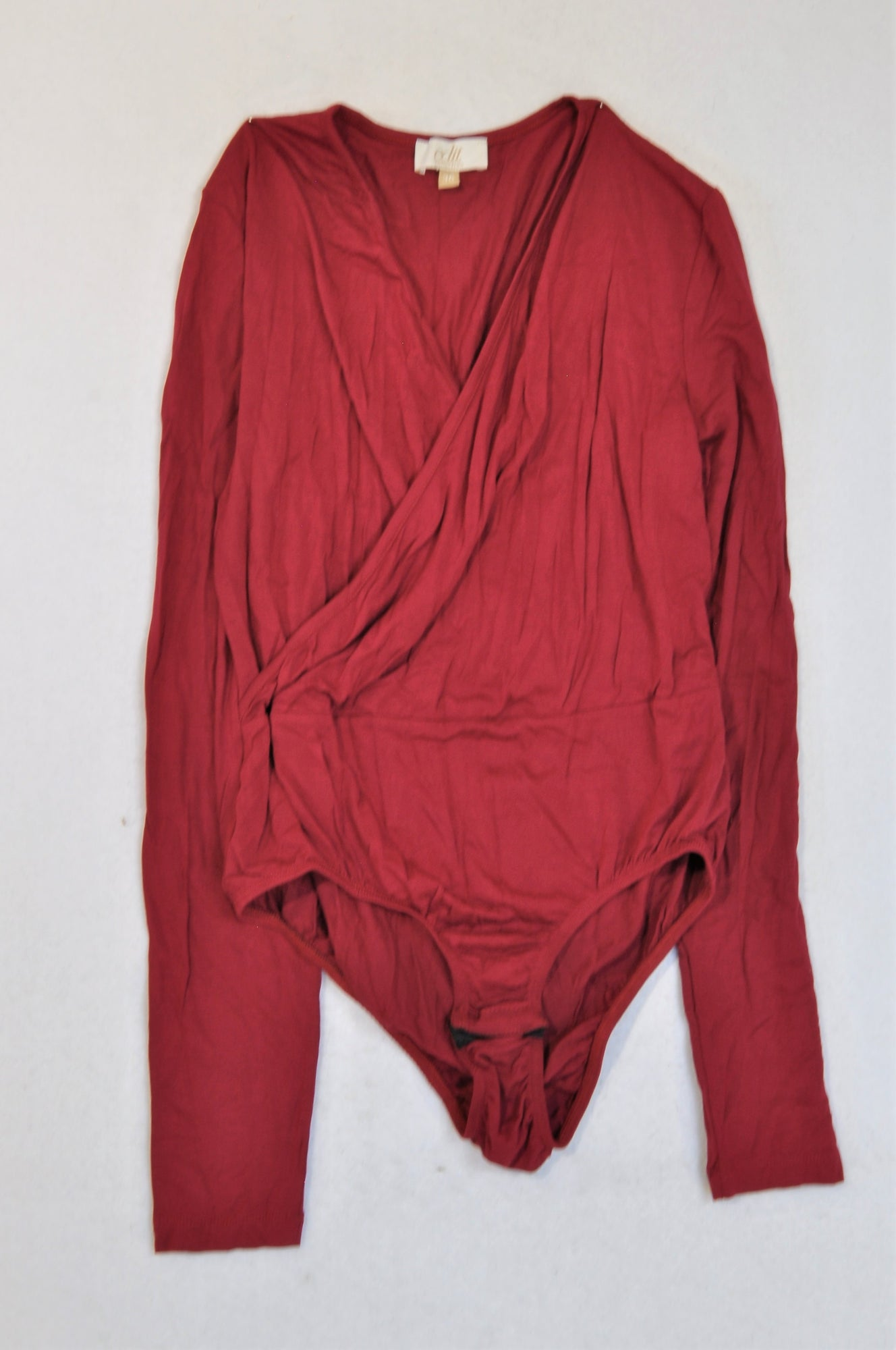 Edit Collection Wine Red Long Sleeve Bodysuit Women Size 36