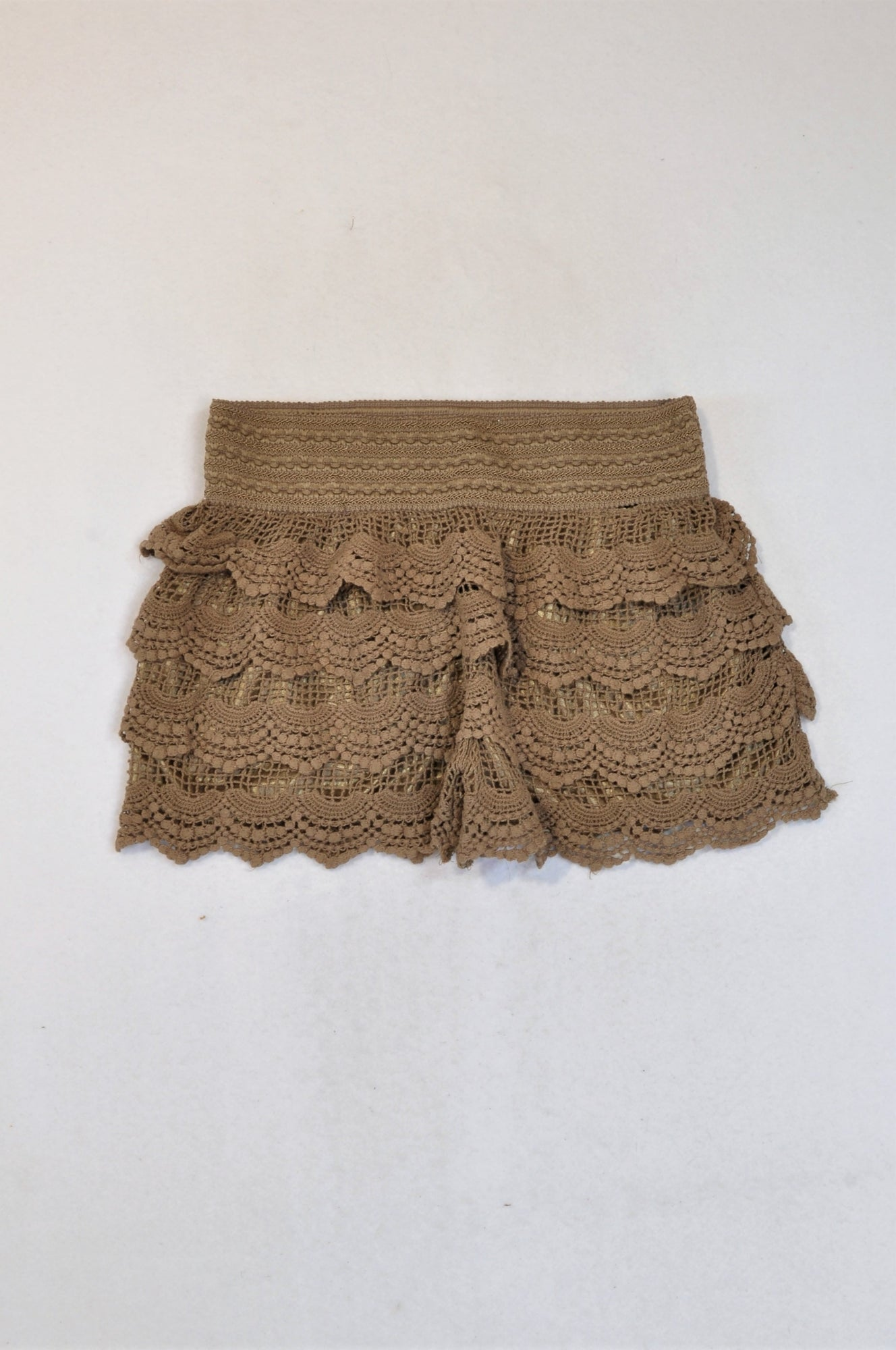 Unbranded Brown Banded Frill Lace Shorts Women Size M