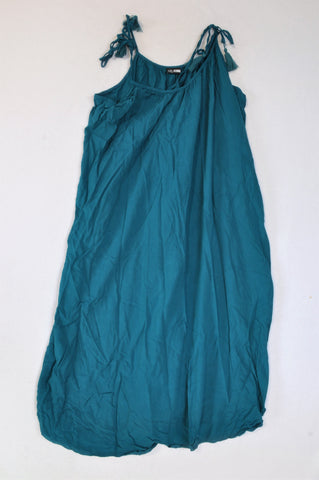 Oakridge Teal Tassel Tie Strap Dress Women Size 36