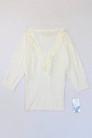 New G.Couture White Frill VNeck Style Top Women Size M