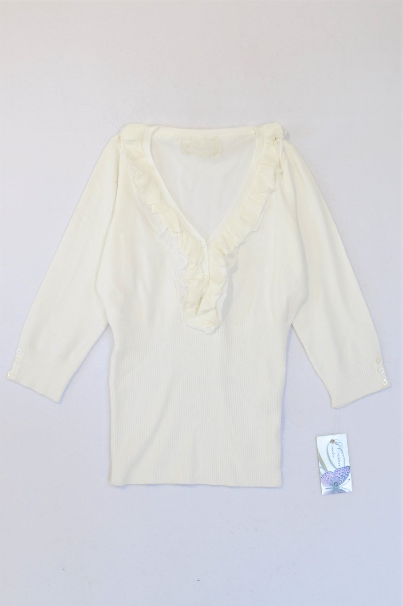 New G.Couture White Frill V-Neck Top Women Size M