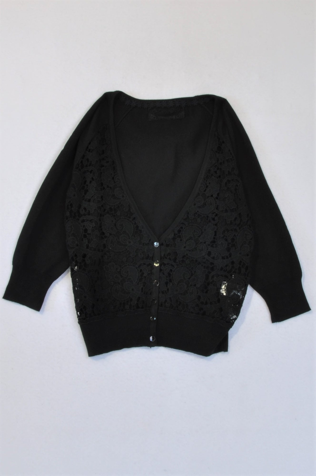 New G.Couture Black With Lace Front Cardigan Women Size M