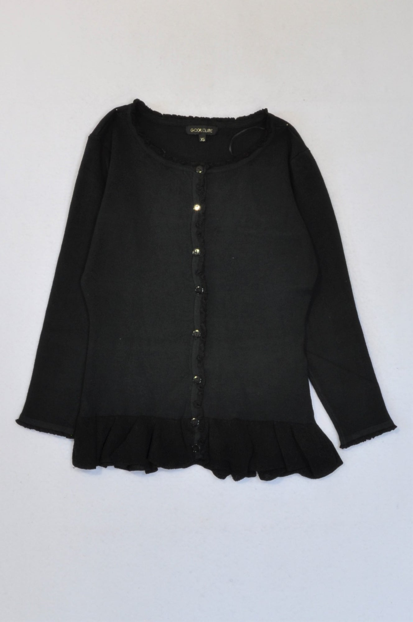 New G.Couture Black Leaf Detail Trim Cardigan Women Size S