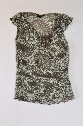 Sisley Brown & Green Sheer Top Women Size XS