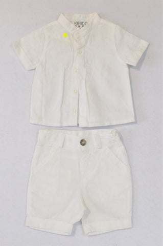 Keedo White Button Shirt & Shorts Outfit Boys 0-3 months