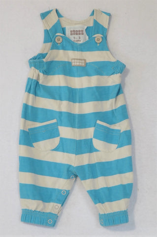 Earthchild Blue And White Stripe Romper Dungarees Unisex 0-3 months