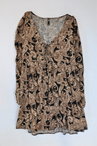Mr. Price Black & Brown Paisley Tunic Top Women Size 12