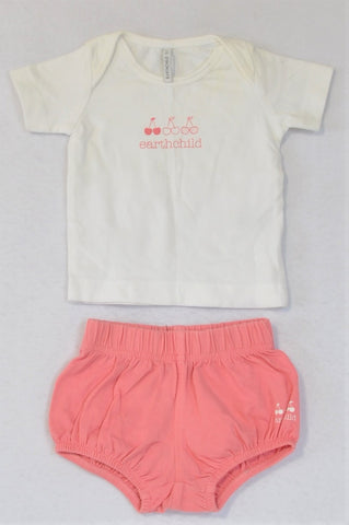 Earthchild White Cherry T-shirt And Pink Bloomers Outfit Girls 0-3 months