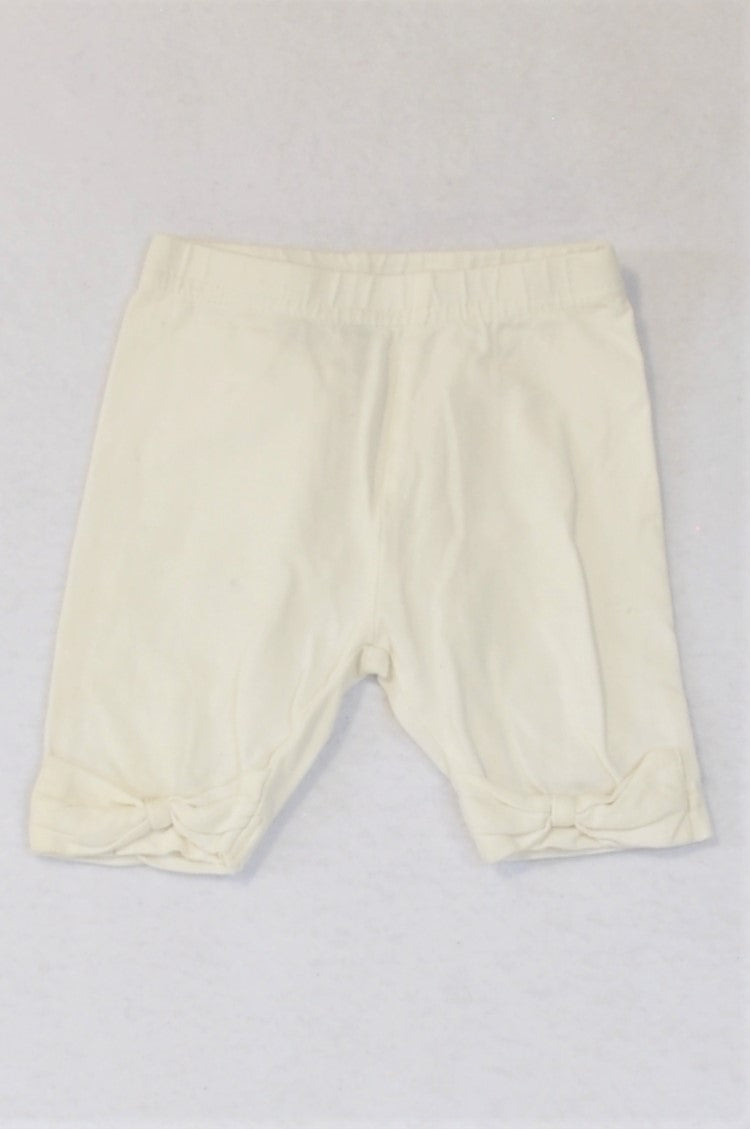 Ackermans White With Bows Cropped Leggings Girls 0-3 months