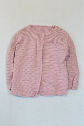 Marks & Spencers Dusty Pink Knit Cardigan Girls 12-18 months