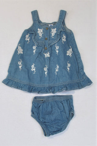 Ackermans Denim And White Embroidered Flower Dress And Bloomers Outfit Girls 3-6 months
