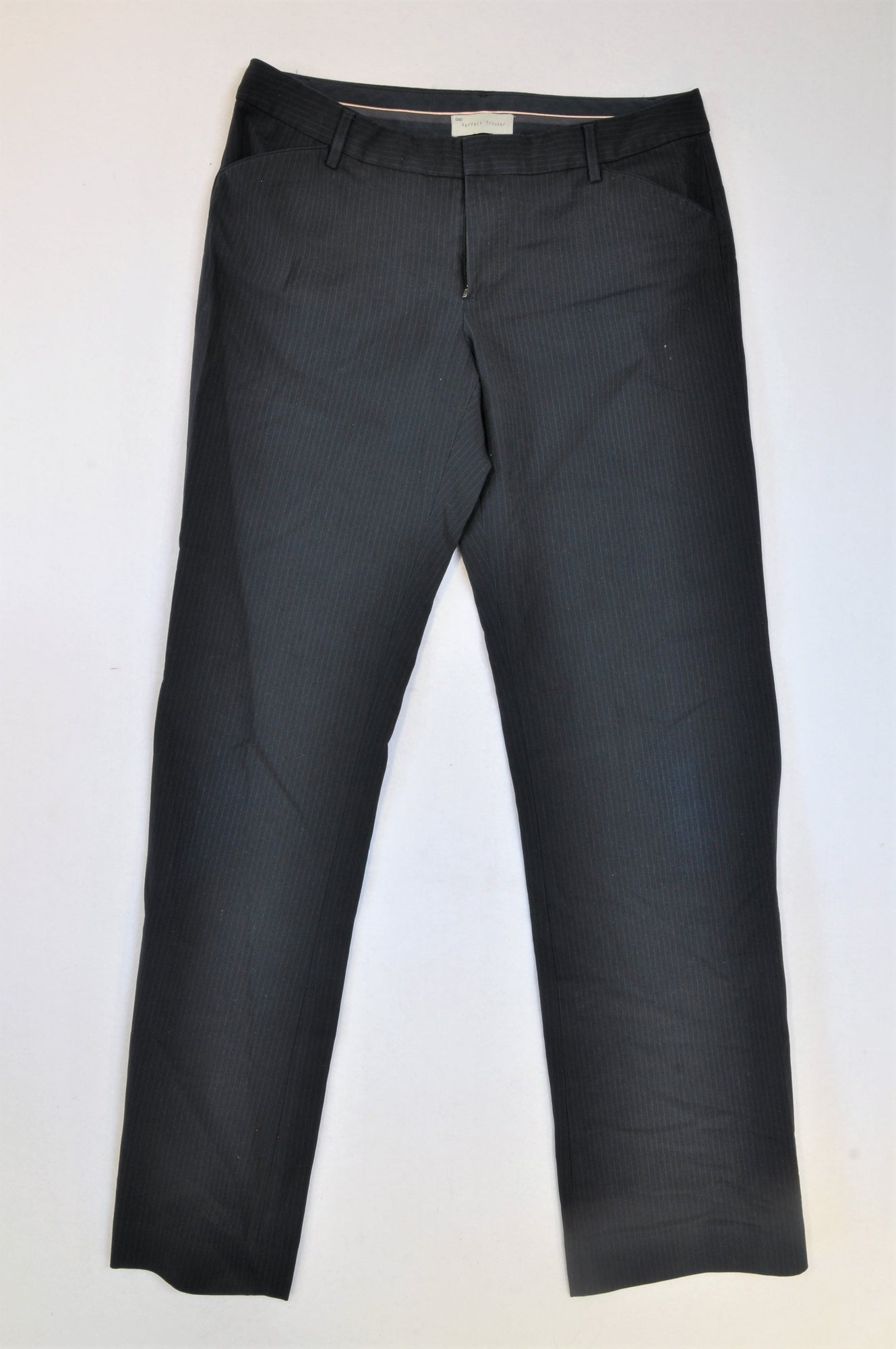 GAP Navy Pin Stripe Slide Button Trouser Pants Women Size 12