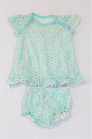 Woolworths Aqua Diamond Dress And Bloomers Outfit Girls 0-3 months