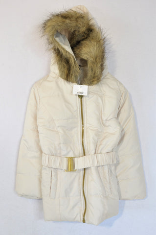 New Mr. Price Cream Puffer Faux Fur Hood Jacket Girls 4-5 years