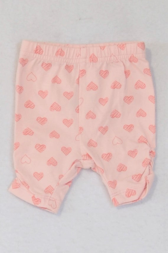 Woolworths Pink With Hearts Cropped Leggings Girls 0-3 months
