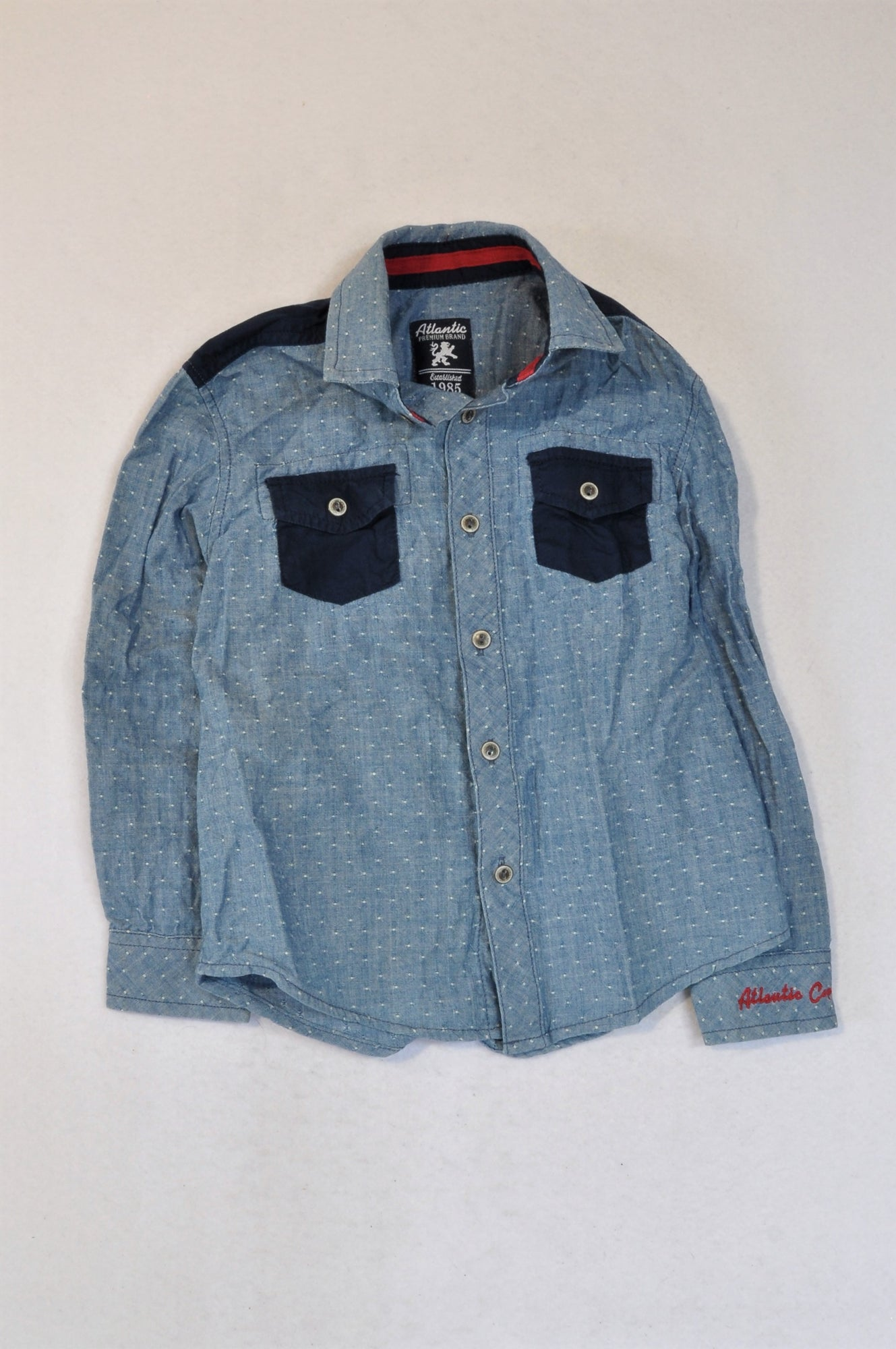 Woolworths Chambray Pindot Long Sleeve Shirt Boys 5-6 years