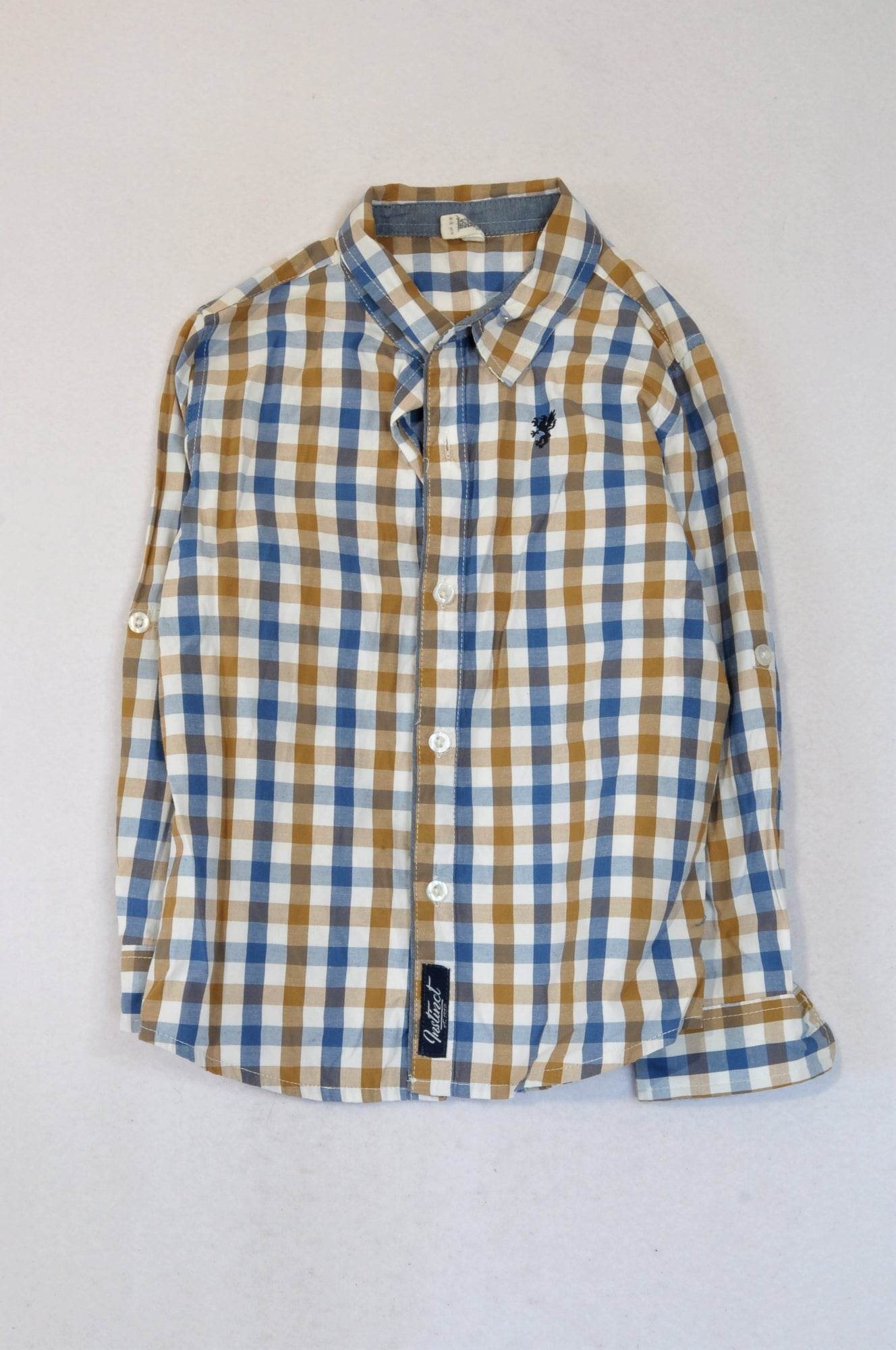 Instinct Beige & Blue Small Check Button Long Sleeve Shirt Boys 5-6 years
