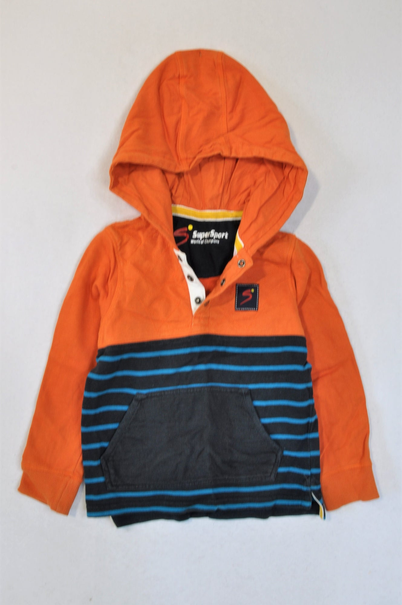 Woolworths Orange & Blue Striped Supersport Hoodie Boys 5-6 years