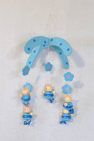 Unbranded Blue Flower Bear Wooden Mobile Unisex N-B to 3 years