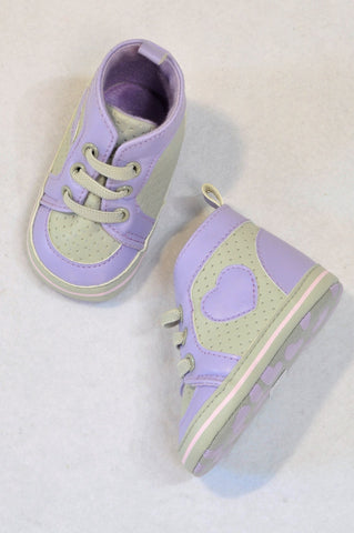 Ackermans Size 1 Purple & Grey Heart High Cut Shoes Girls 3-6 months