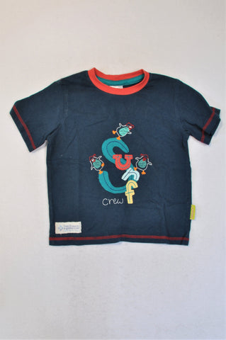 Hooligans Navy Red Trim Surf Crew T-shirt Boys 3-4 years