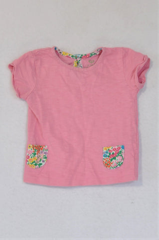 Next Heathered Pink Floral Pockets T-shirt Girls 6-9 months