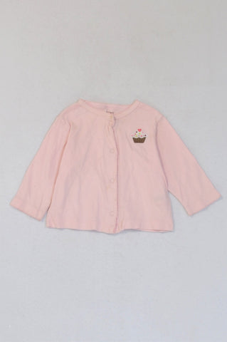 Carter's Pink Cupcake Snap Cardigan Girls 4-6 months