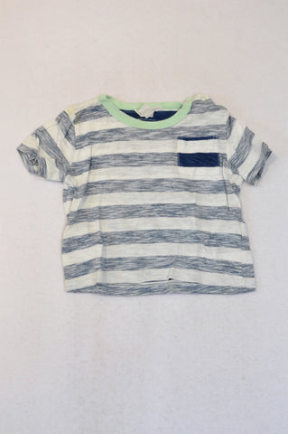 Country Road Navy Heathered Seafoam Neckline Snap T-shirt Boys 12-18 months