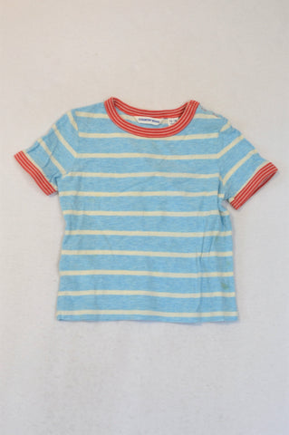 Country Road Light Blue Red Trim Snap T-shirt Boys 12-18 months