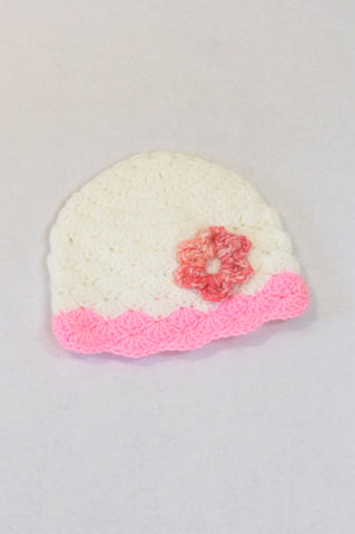 Unbranded White & Pink Flower Knit Beanie Girls 2-3 years