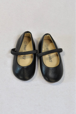 New Pick 'n Pay Size 1 Black Strap Ballerina Shoes Girls 0-3 months