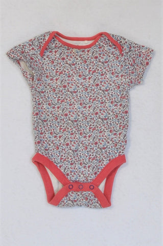 Next Red Trim Ditsy Floral Baby Grow Girls 6-9 months