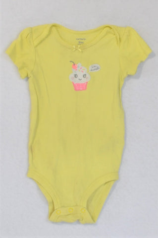 Carter's Yellow Cupcake I'm Sweet Baby Grow Girls 6-9 months