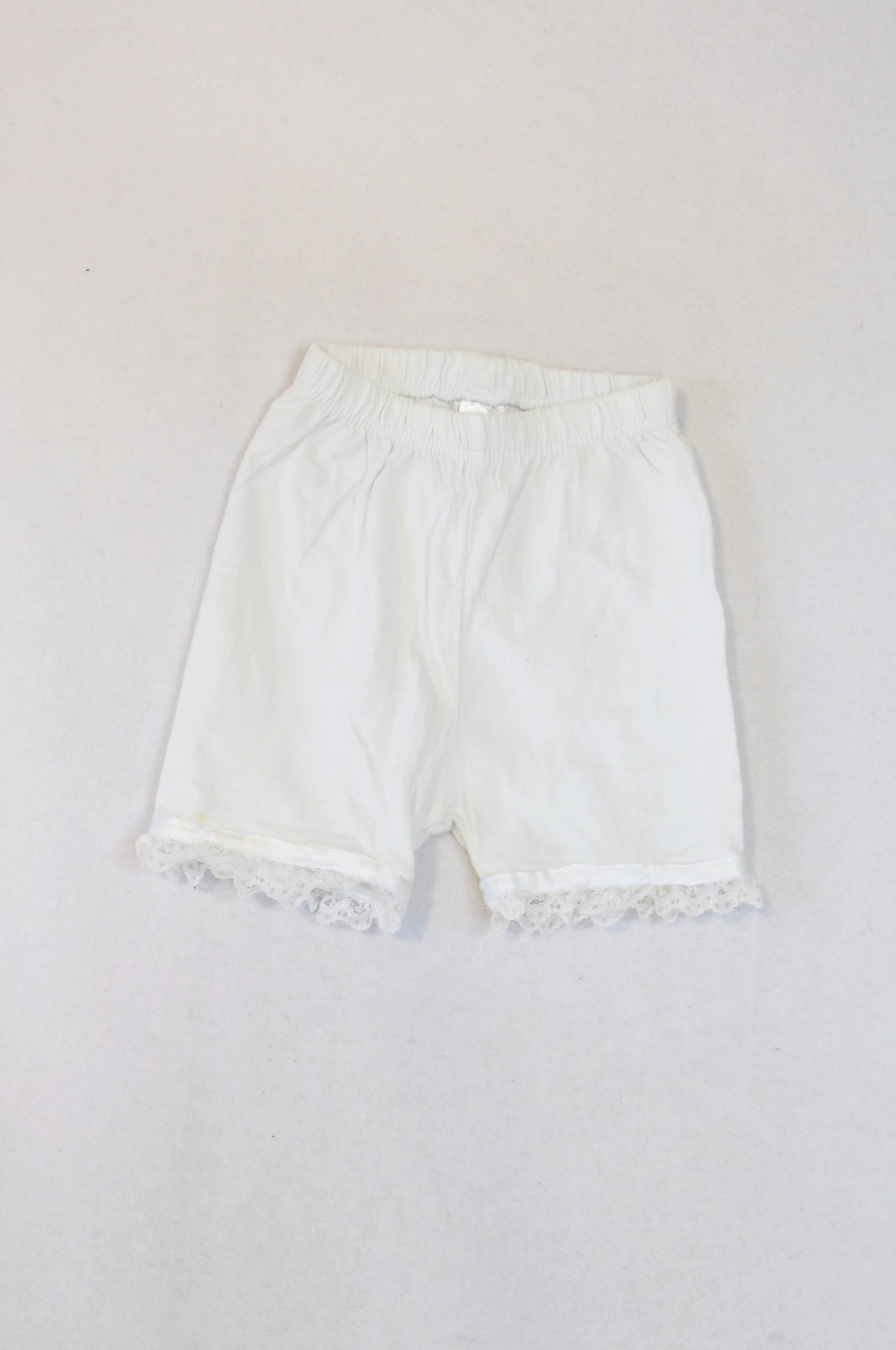 Ackermans White Lace Trim Shorts Girls 3-6 months