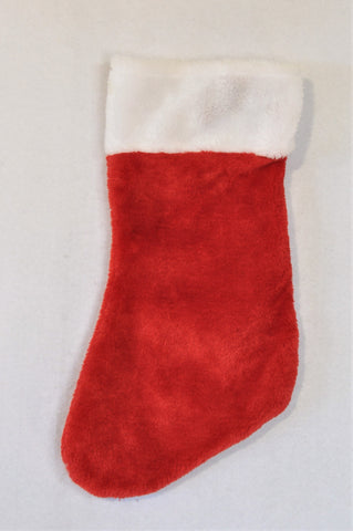 Unbranded Red Fleece Christmas Stocking Accessory Unisex All Ages